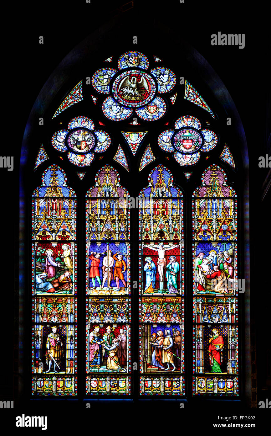 Stained glass window of the Basilica of the Holy Blood in Bruges, Belgium - Stock Image
