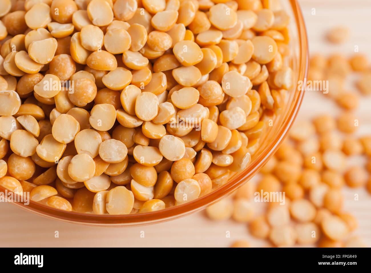 Yellow split peas used to make split pea soup and pease pudding - Stock Image