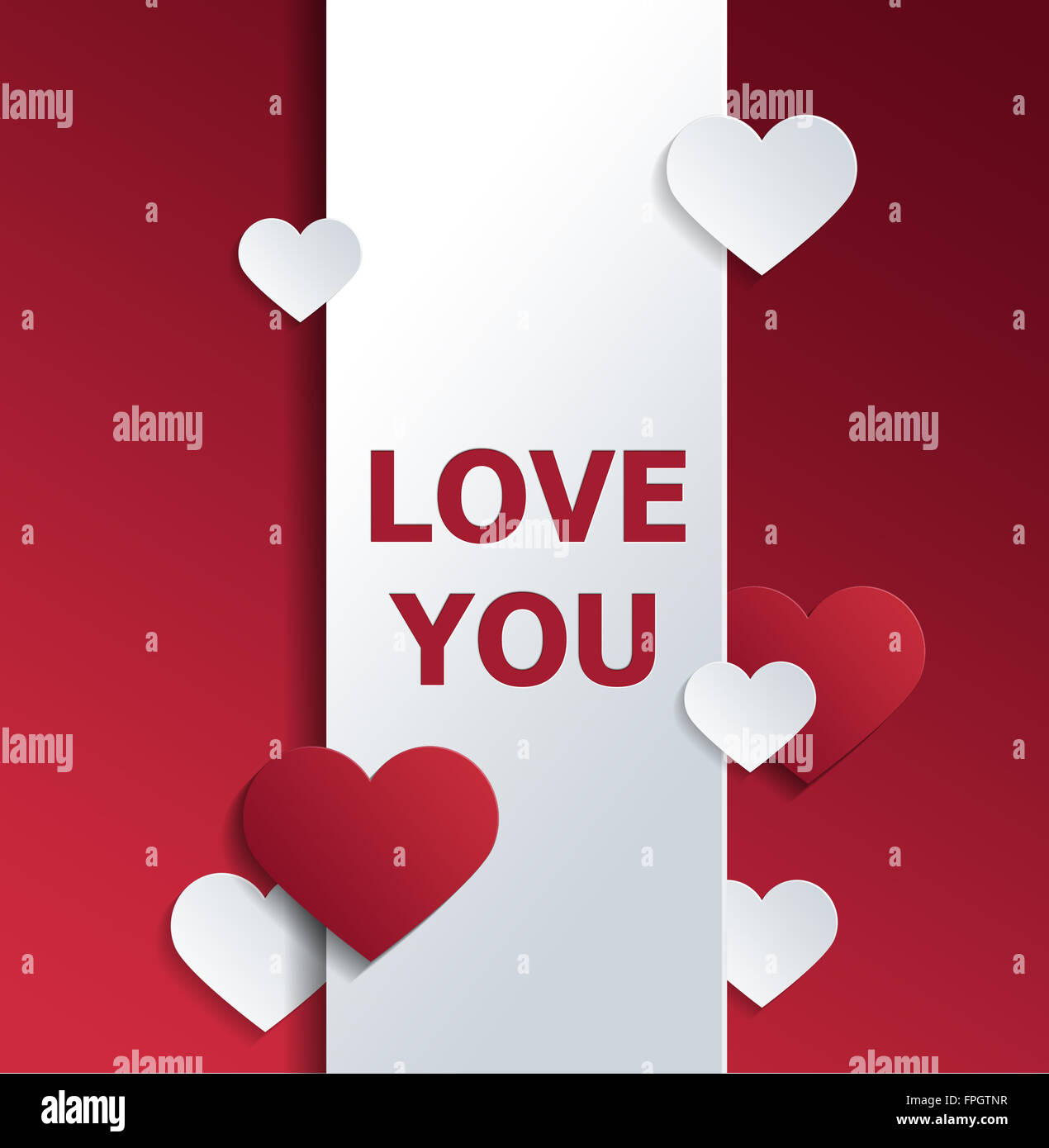 Valentine Greeting Card Graphic Message Of Love Printed In Red On