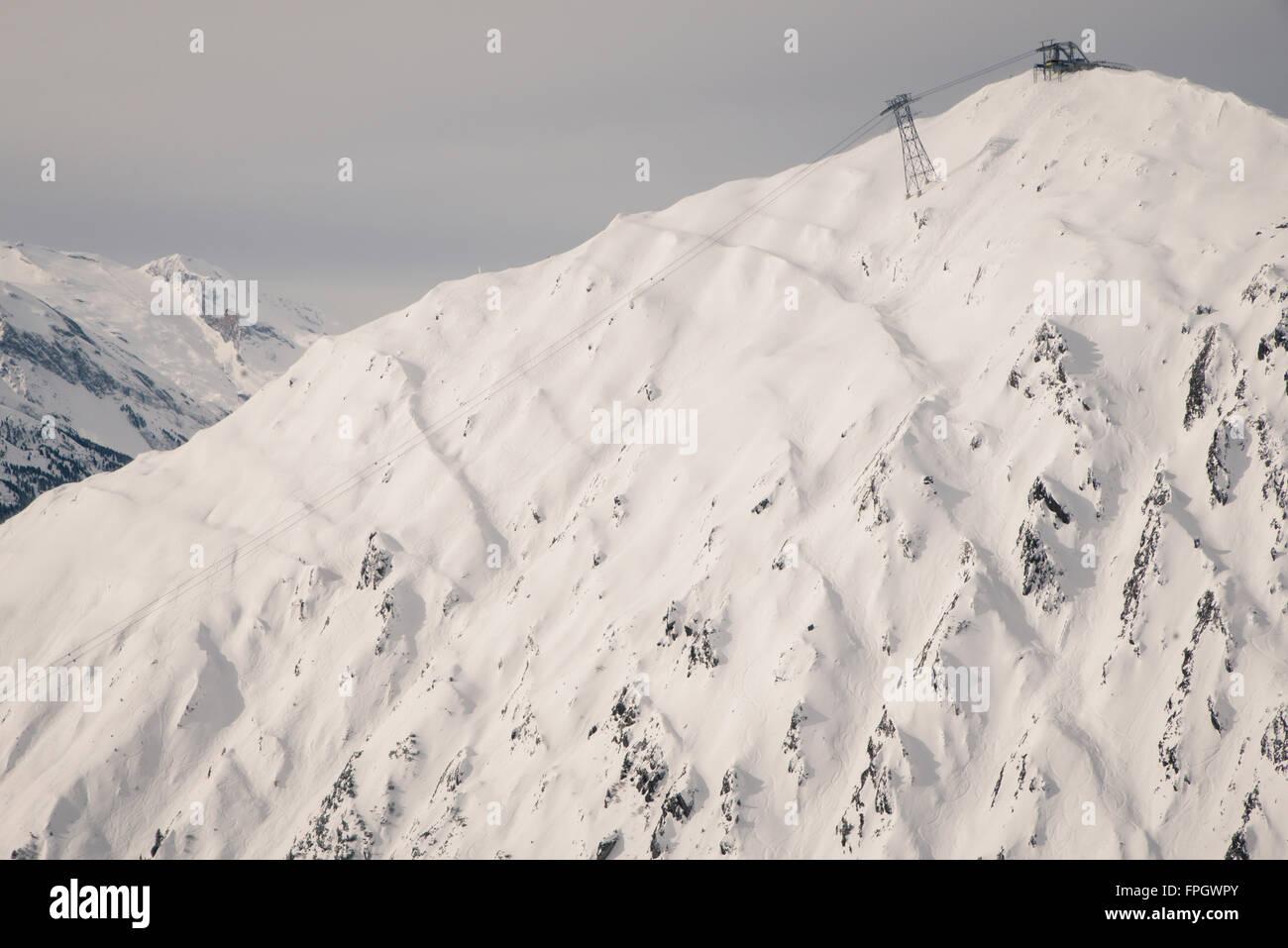 freeriding in Mayrhofen ski resort, austria - Stock Image