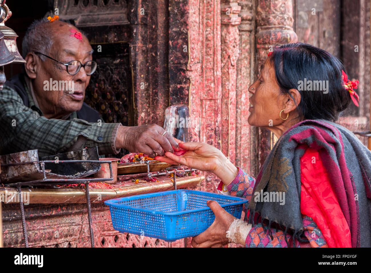 Nepal, Patan.  Worshiper Presenting an Offering to a Holy Man at a Hindu Temple. - Stock Image