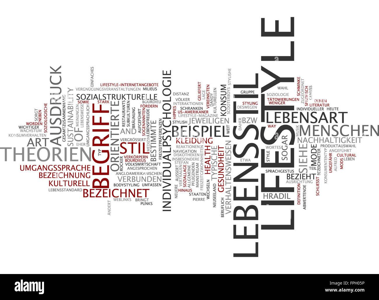 lifestyle lebensstil ausdruck begriff leben stil - Stock Image