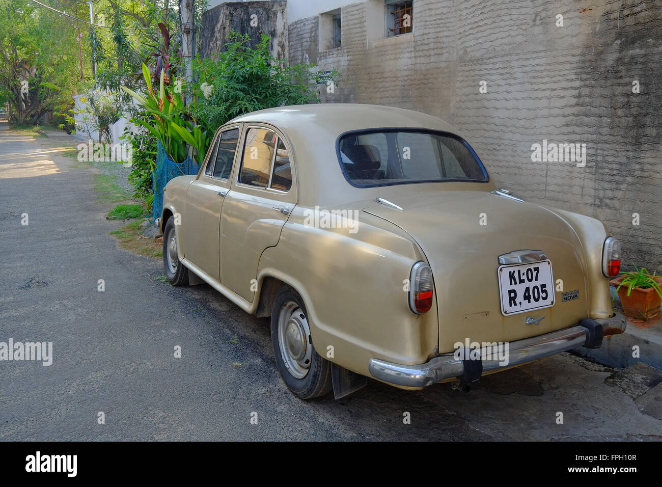 An Ambassador car in the old town of Kochi , Kerala, India - Stock Image