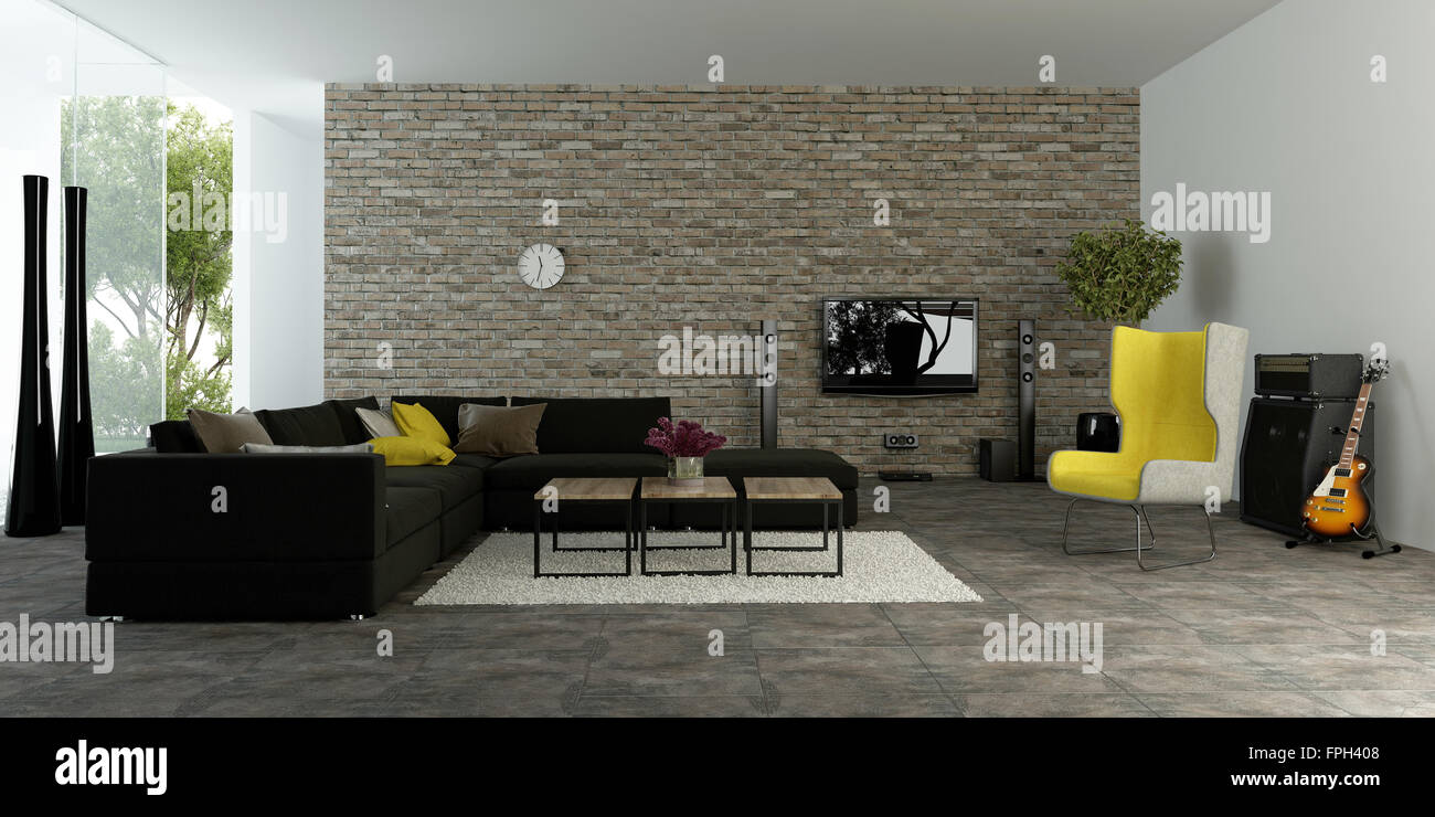 Large Modern Living Room With Textured Accent Wall To