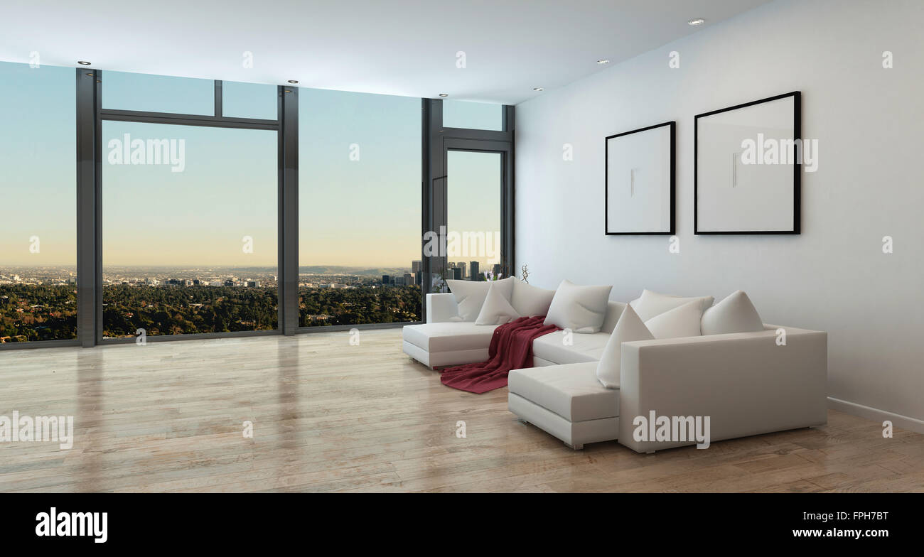 Panoramic High Rise Apartment Interior With View Of Sprawling City Stock Photo Alamy