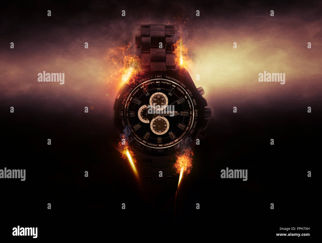 Luxury Design Black Wristwatch Chronograph Lit Dramatically from Side on Dark Background with Glowing Effect and - Stock Image