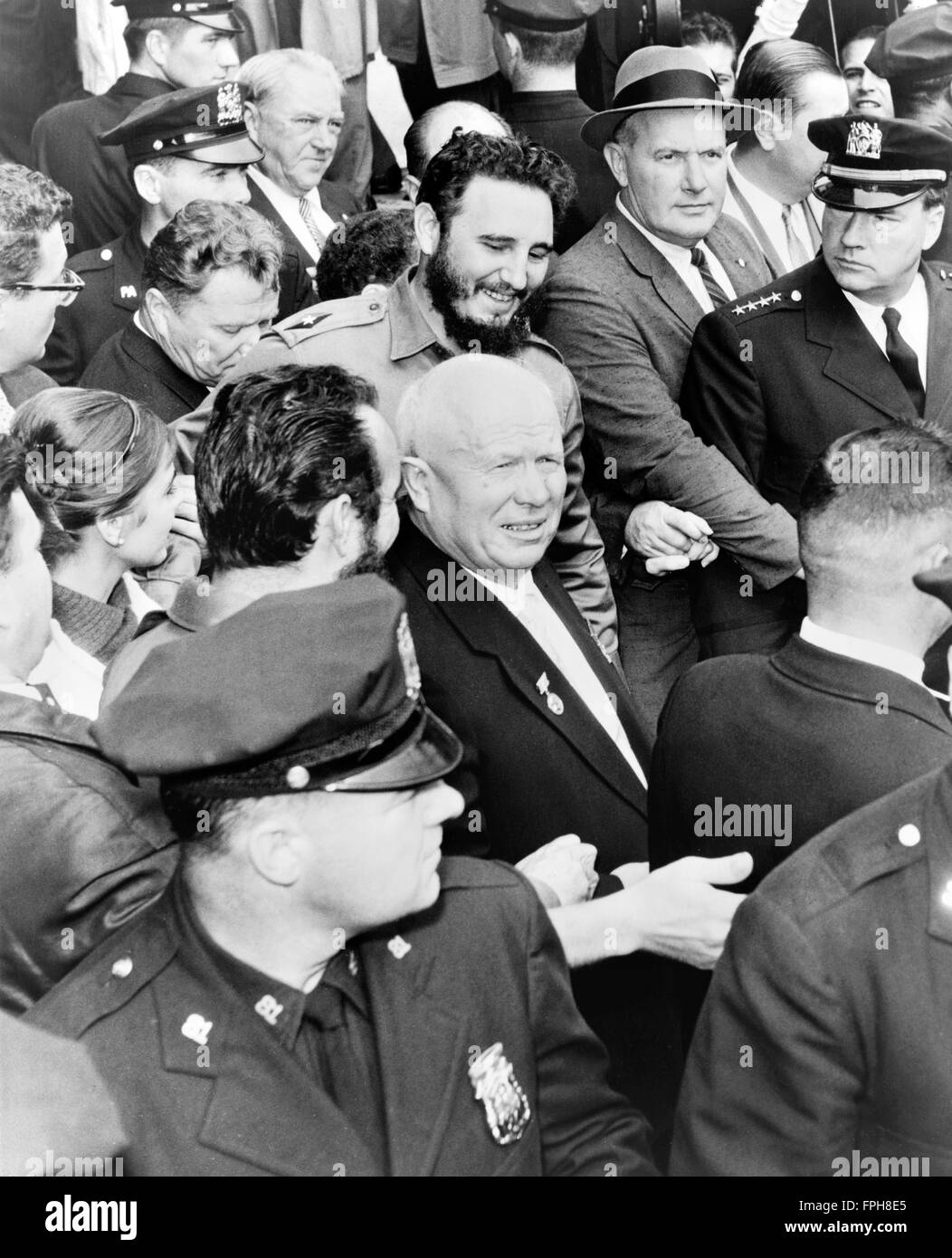 Fidel Castro, Prime Minister of Cuba and Nikita Khrushchev, First Secretary of the Communist Part of the Soviet - Stock Image