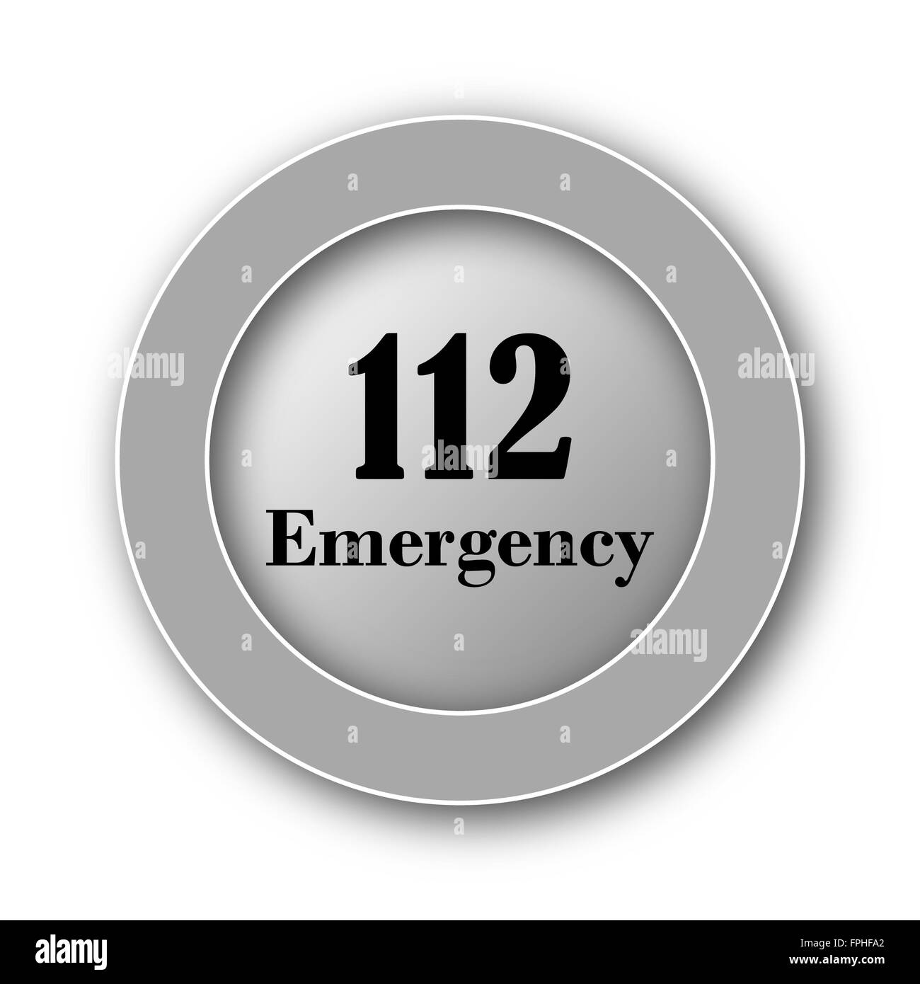 112 Emergency icon. Internet button on white background. - Stock Image