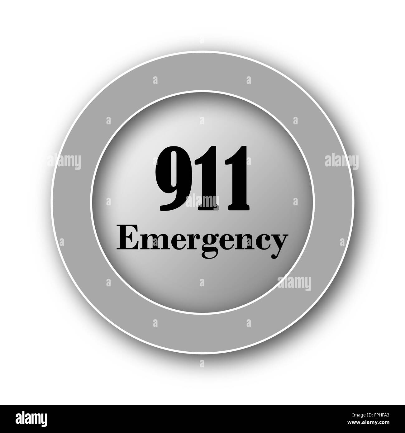 911 Emergency icon. Internet button on white background. - Stock Image