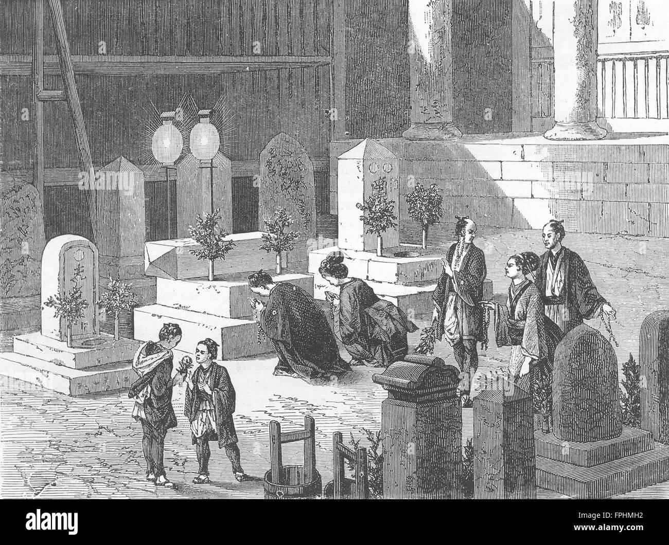 JAPAN: Funeral Ceremonies, antique print 1880 - Stock Image