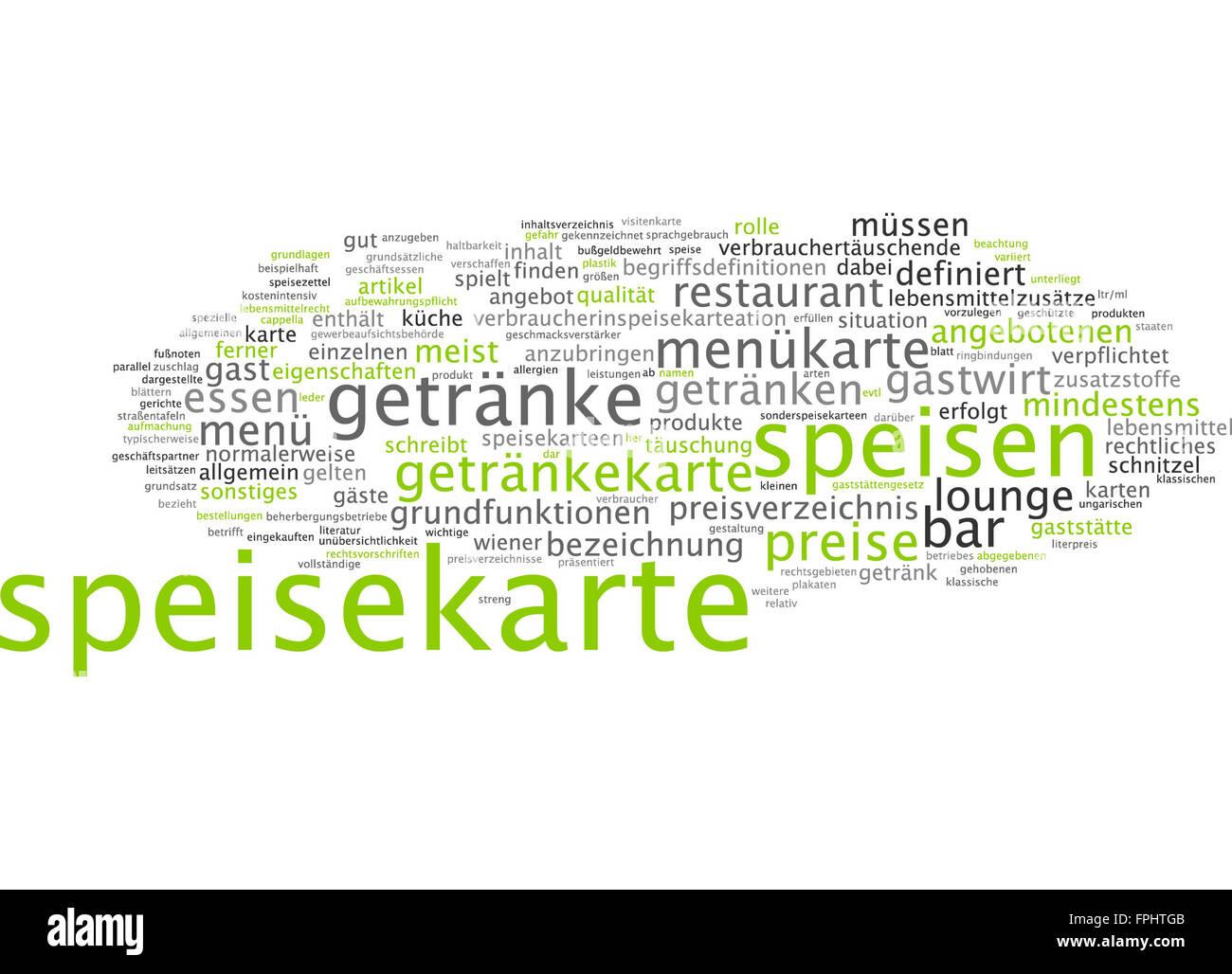 Speisekarte Menükarte Getränkekarte Karte Speisen - Stock Image