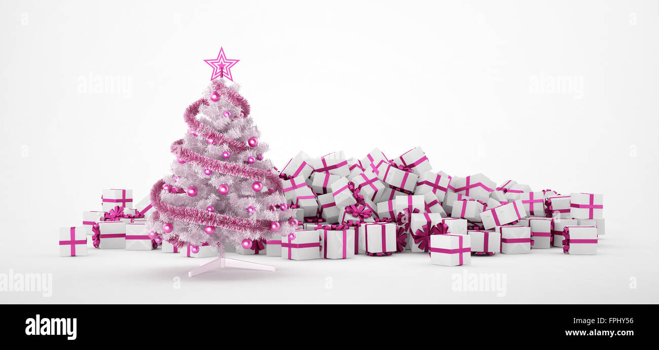 Pile Of White And Pink Christmas Presents Tree Isolated On Background Concept Image For X Mas Or Weddings 3d Rendering