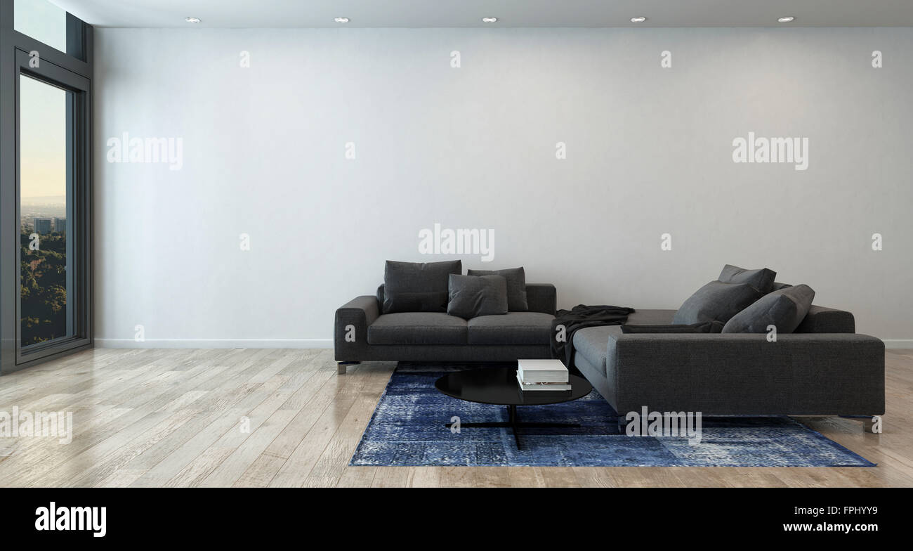 panoramic luxury home interior furnished with gray sectional sofa