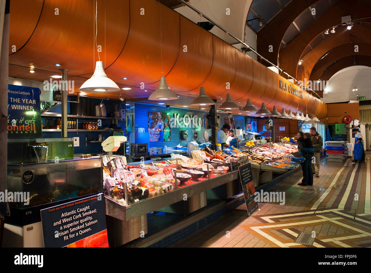 Kay O' Connell's fishmonger and seafood stall at the English market in Cork city, County Cork, Ireland Stock Photo