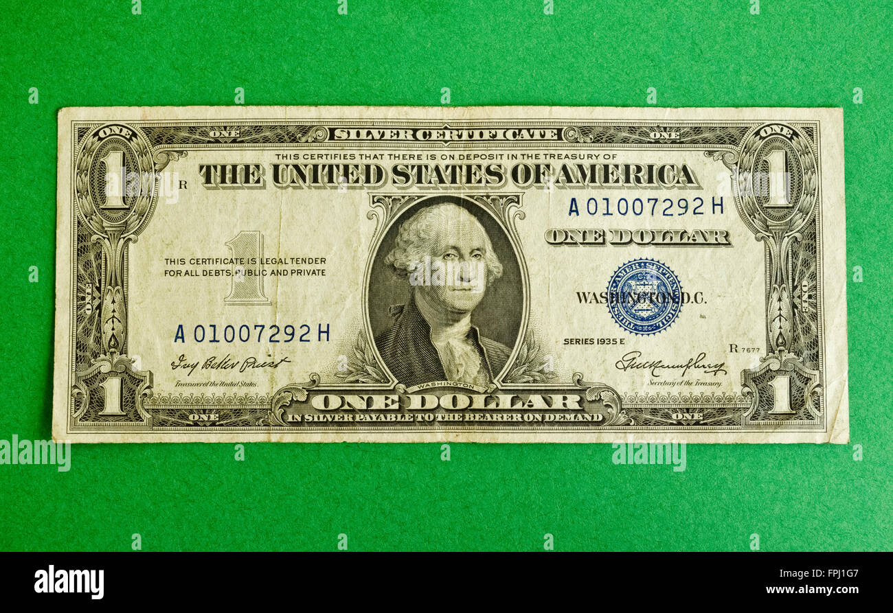 A Used Us One Dollar Bill That Is One Of The Small Size Silver