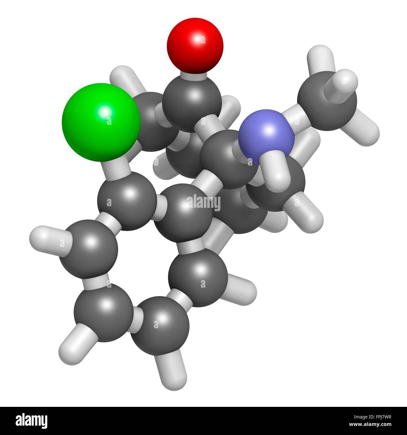 Esketamine antidepressant   anaesthetic drug molecule. Atoms are represented as spheres with c venti al colour coding: - Stock Image
