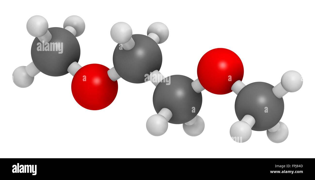 Dimethoxyethane (glyme m oglyme dimethyl glycol DME) molecule. Atoms are represented as spheres with c venti al - Stock Image