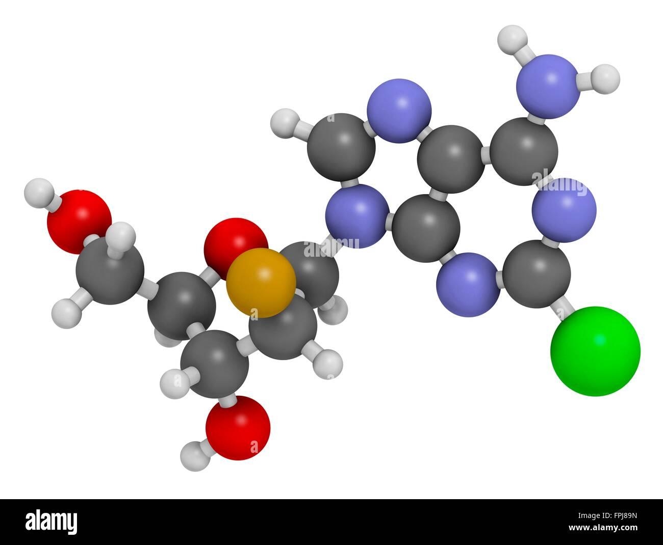 Clofarabine cancer drug molecule (purine nucleoside antimetabolite). Atoms are represented as spheres with c venti - Stock Image