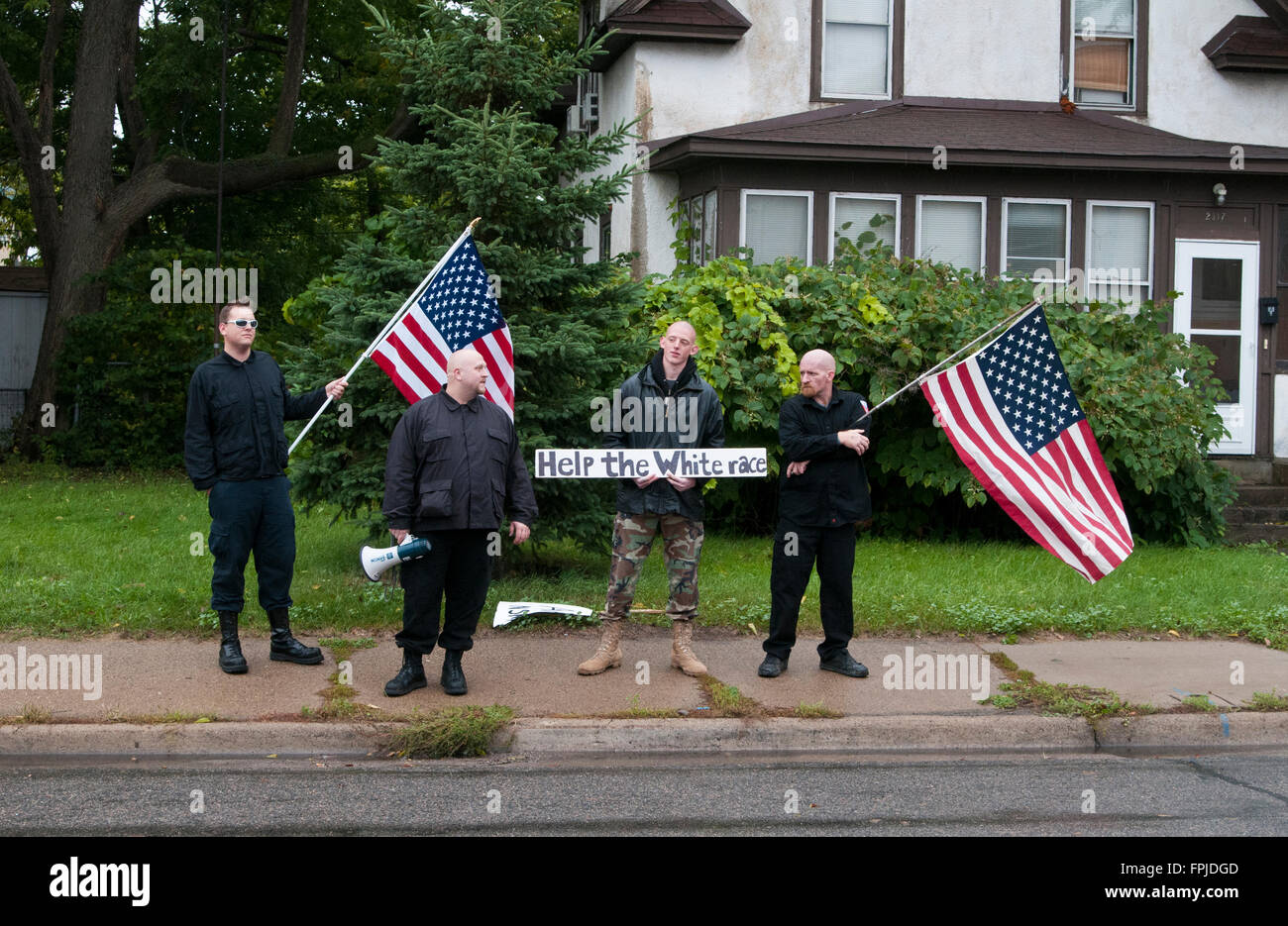 Minneapolis, Minnesota. Neo-Nazi rally. The Neo-Nazi National Socialist Movement demonstrating in Minneapolis, Minnesota. Stock Photo