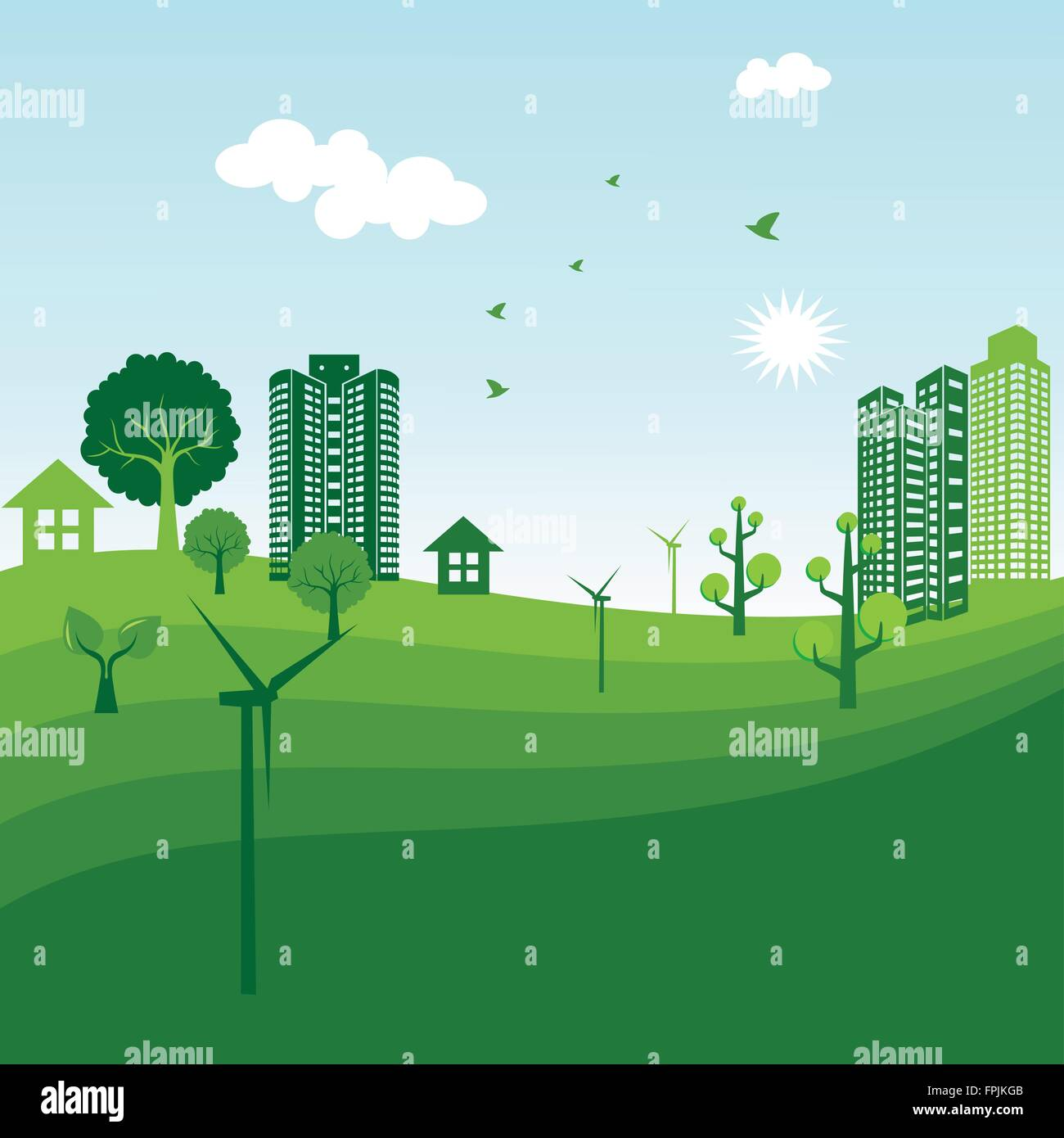 Green city ecology illustration - Stock Vector