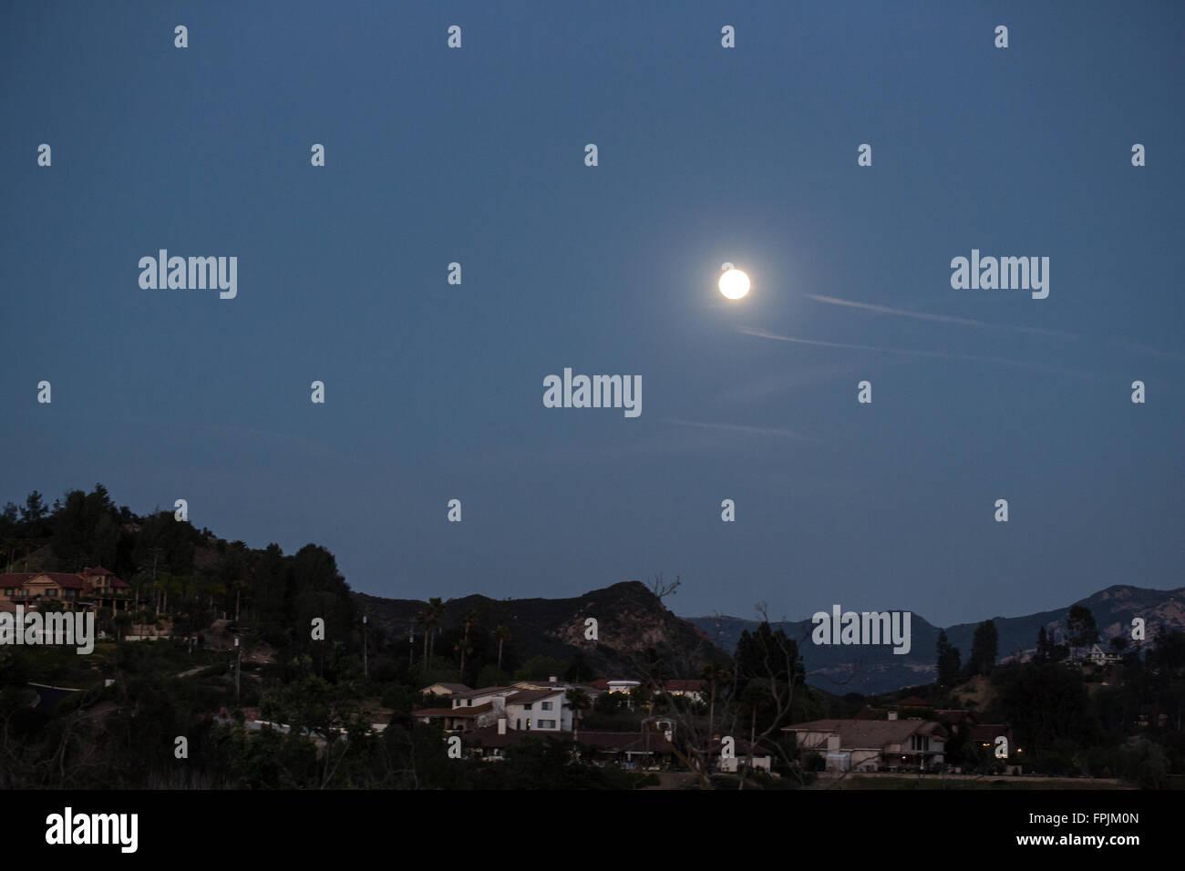 Moon over Agoura, California - Stock Image