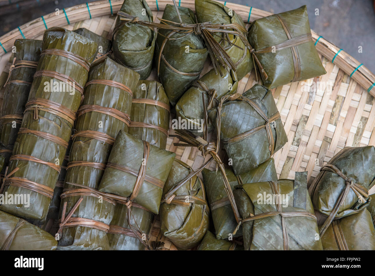 Vietnamese Sticky Rice Cakes For The New Year Tet Called Banh Chung Stock Photo Alamy