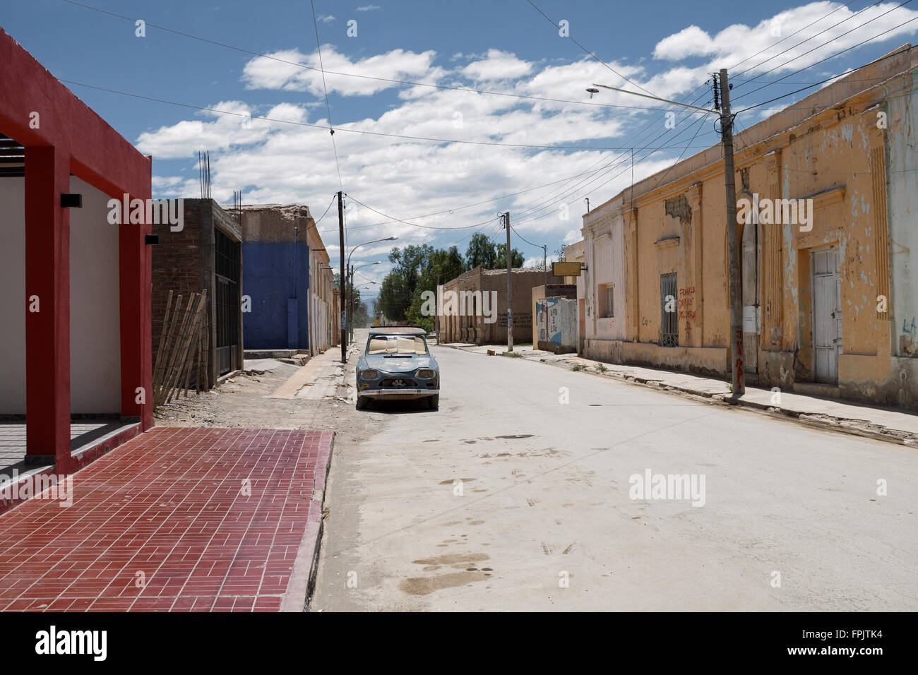 Village street and houses townscape  infrastructure argentina - Stock Image