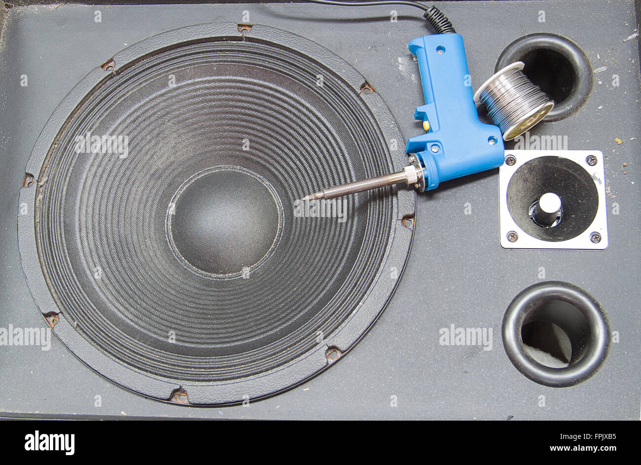 loudspeaker Old black Waiting to be repaired - Stock Image