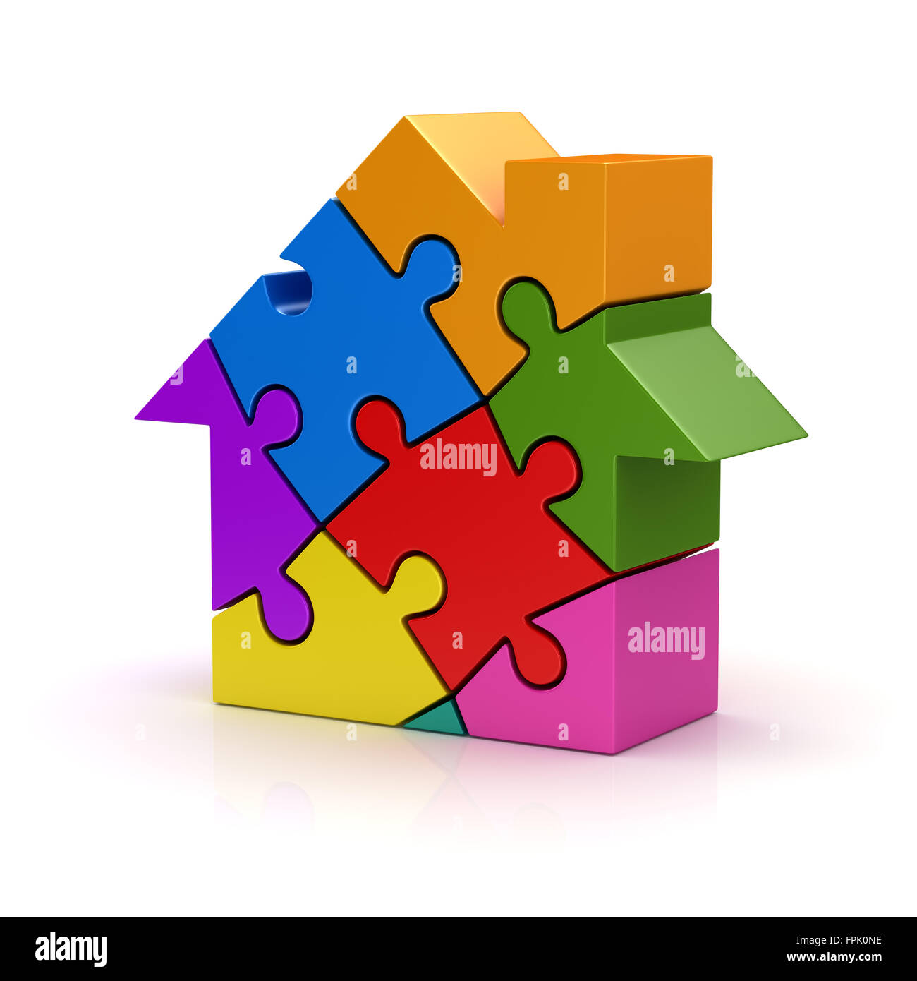 Colorful puzzle house , This is a computer generated and 3d rendered picture. Stock Photo