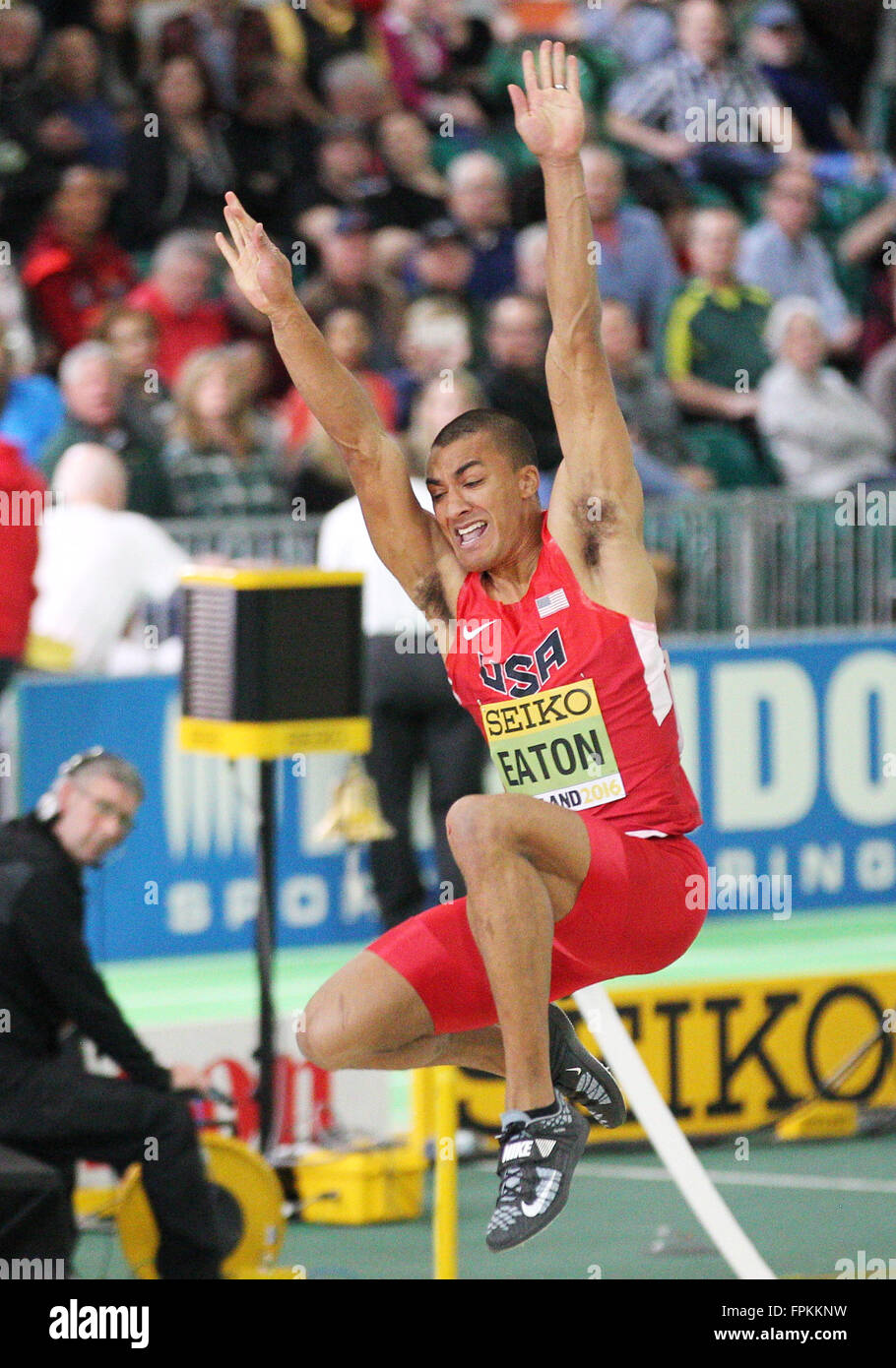 Portland, Oregon, USA. March 18, 2016: Ashton Eaton competes in the long jump portion of the Men's Heptathlon - Stock Image