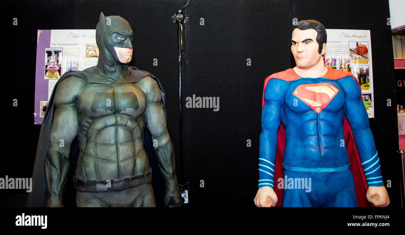 Birmingham, UK. 19th March, 2016. Life size Batman vs Superman made from  cake at Cake International Credit:  steven - Stock Image