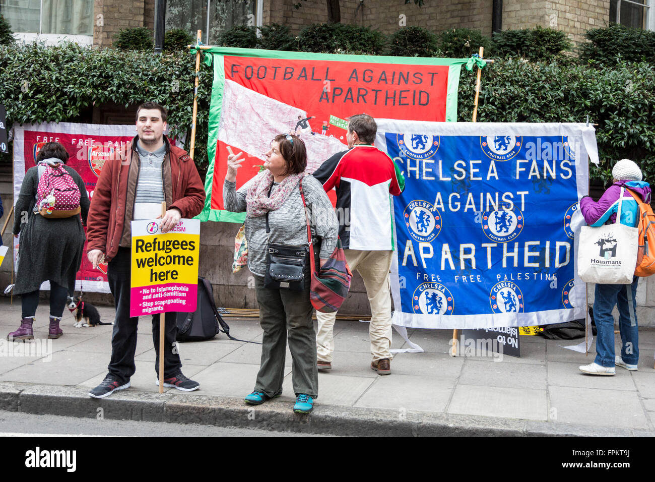 London, UK. 19 March 2016. Chelsea football fans against apartheid. Thousands of protesters took to the street to - Stock Image