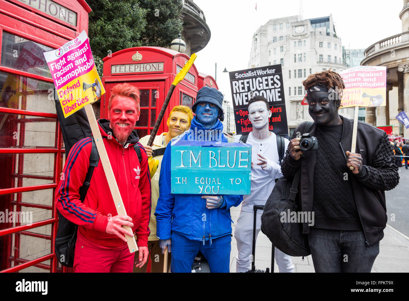 London, UK. 19 March 2016. Members of the band Bud Sugar. Thousands of protesters took to the street to demonstrate - Stock Image