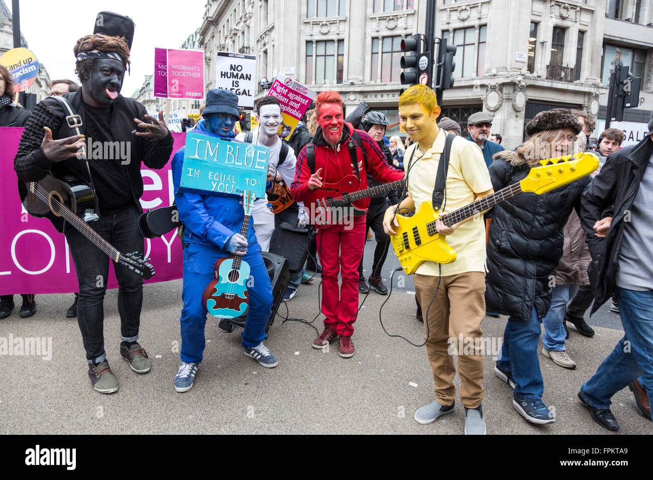 London, UK. 19 March 2016. Members of the band Bud Sugar in Oxford Circus. Thousands of protesters took to the street - Stock Image