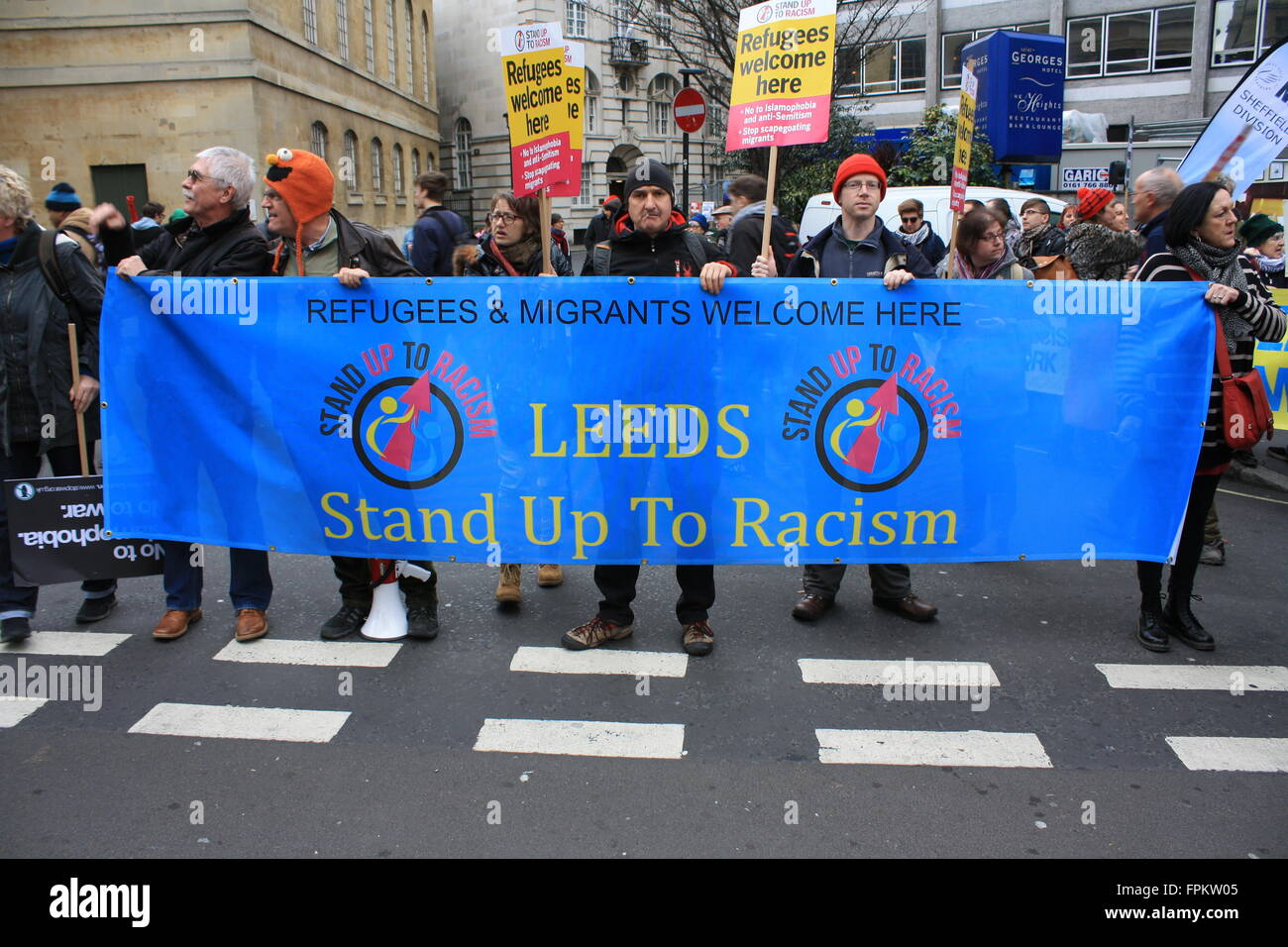 Leeds Stand Up To Racism banner in London, UK - Stock Image