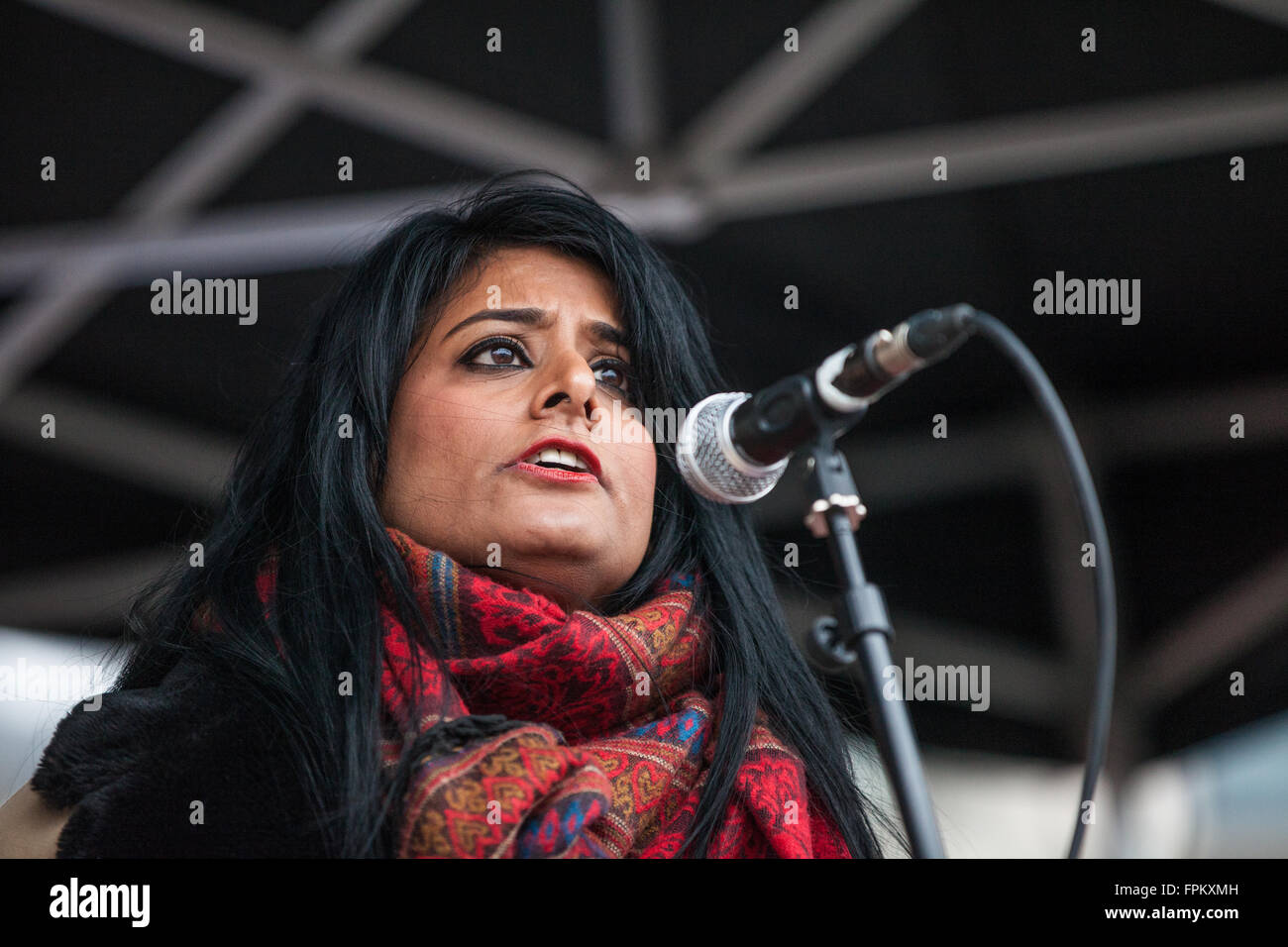 London, UK. 19th March, 2016. Maz Saleem, daughter of the late Mohammed Saleem, who was murdered by a racist as - Stock Image