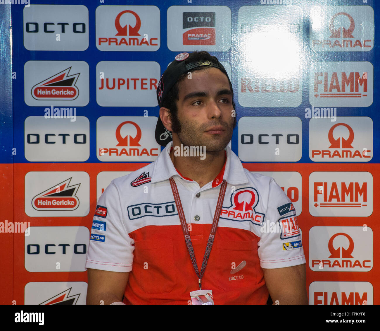 Losail International Circuit, Qatar.  19th March 2016.  Danilo Petrucci  during qualifying for the MotoGP race for - Stock Image