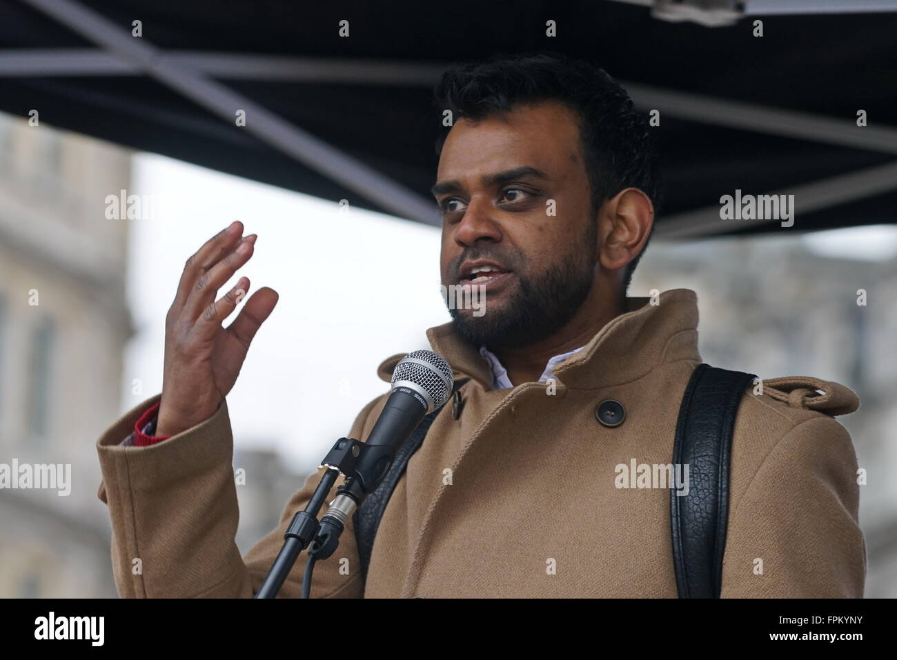 London, UK. 19th March, 2016. Shamiul Joarder of Friends of Al Aqsa addresses at the rally at the National demo - Stock Image