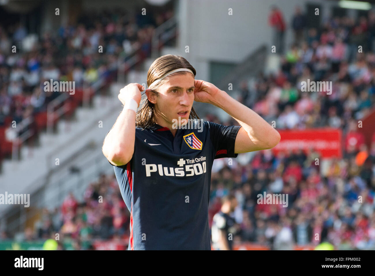 Gijon, Spain. 19th March, 2016. Filipe Luis (Atletico de Madrid) during football match of Spanish 'La Liga' between - Stock Image