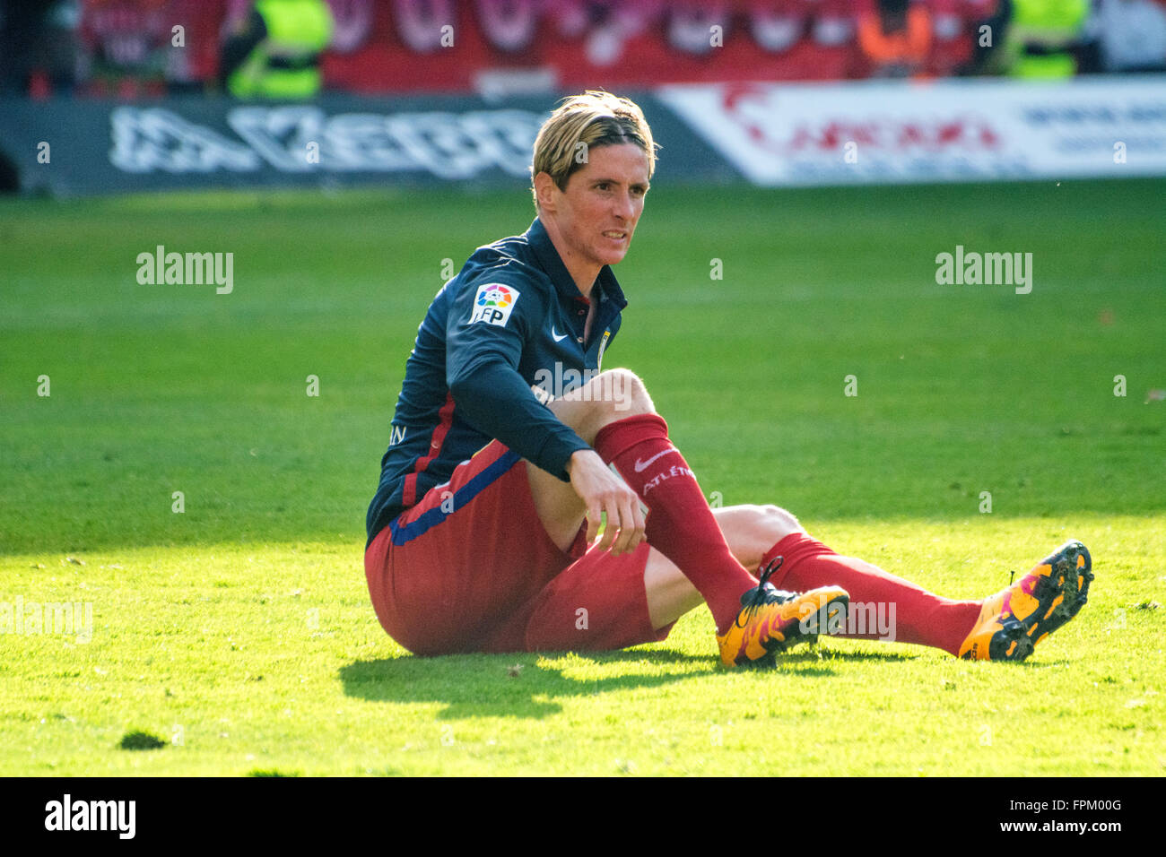 Gijon, Spain. 19th March, 2016. Fernando Torres (Atletico de Madrid) during football match of Spanish 'La Liga' - Stock Image