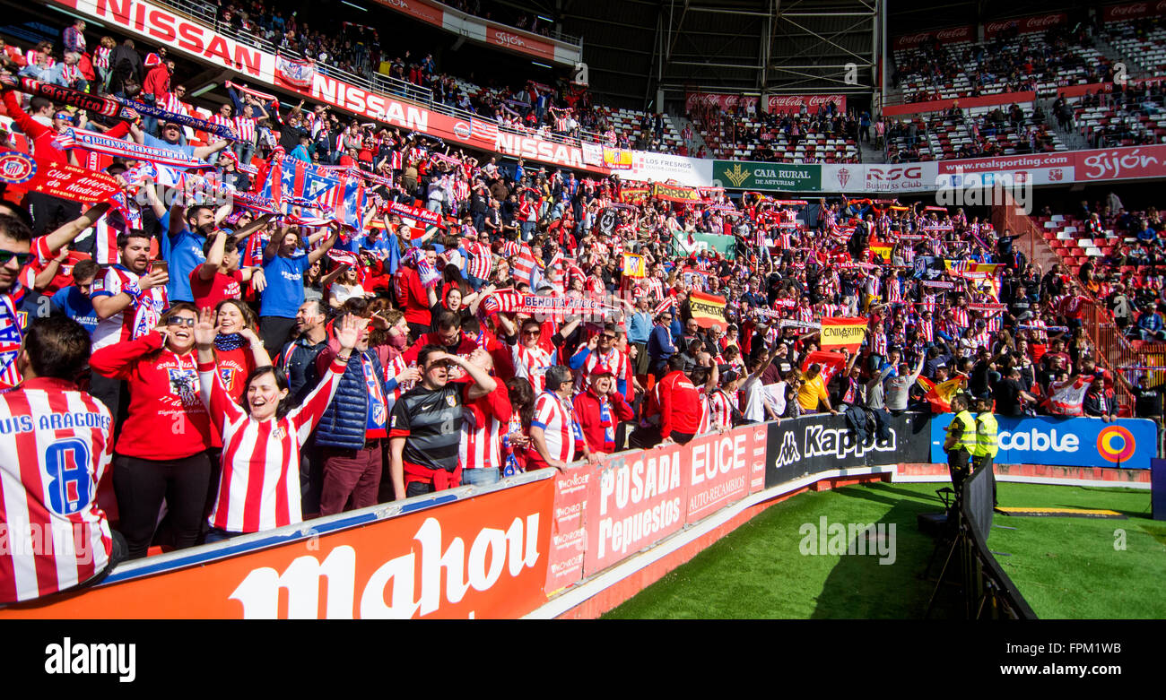 Gijon, Spain. 19th March, 2016. Supporters of Atletico de Madrid during football match of Spanish 'La Liga' between - Stock Image