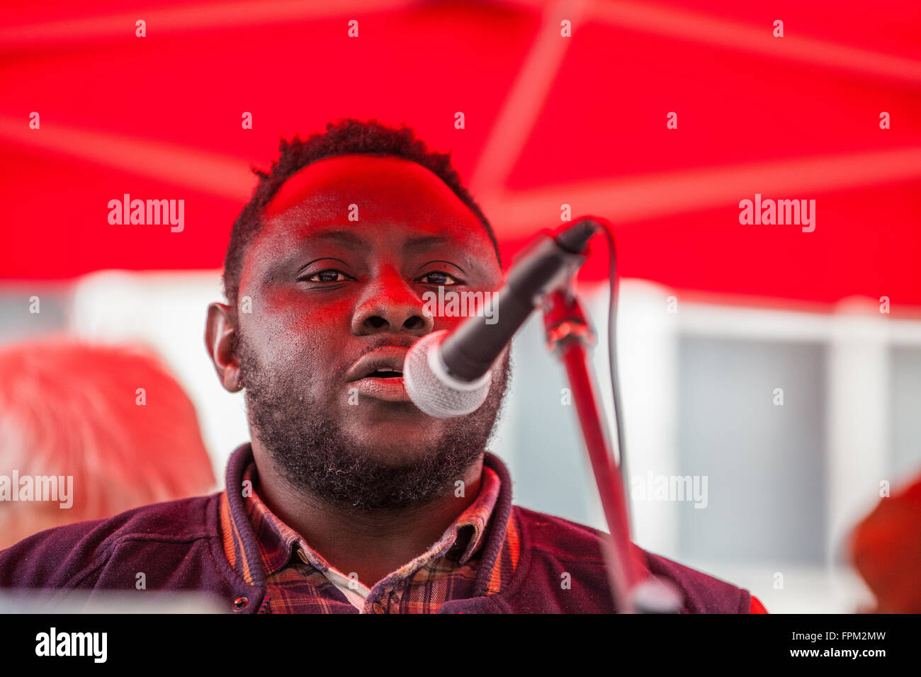 London, UK. 19th March, 2016. Luqman Onikosi, a University of Sussex student from Nigeria threatened with deportation, - Stock Image