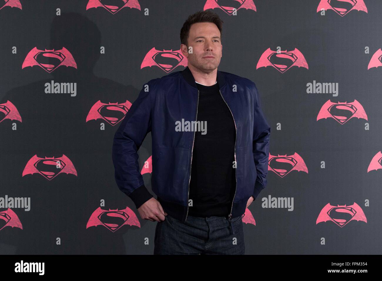 Mexico City, Mexico. 19th Mar, 2016. Actor Ben Affleck poses during the photocall to promote the film Batman vs - Stock Image