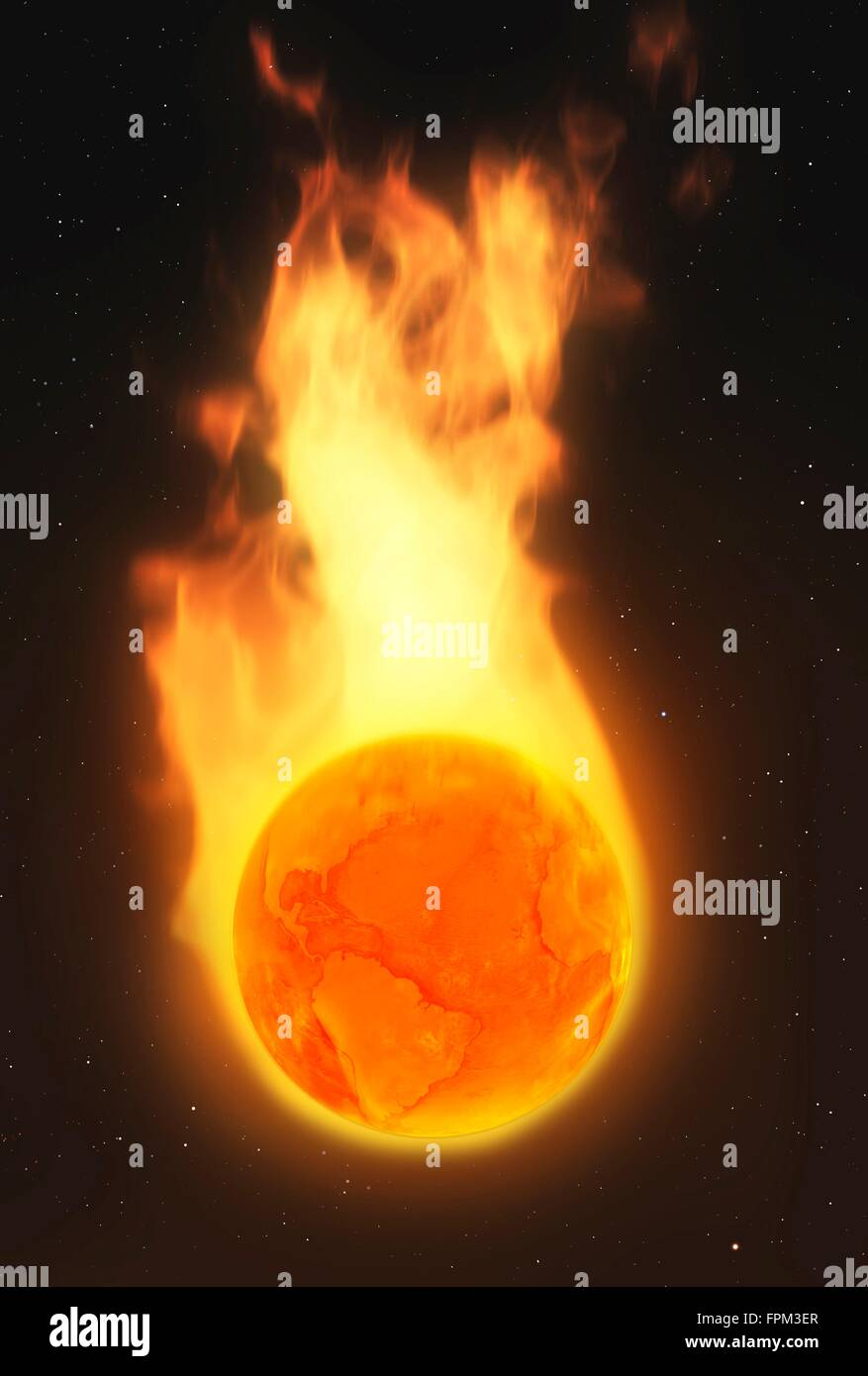 Global warming. C ceptual illustrati  of an Earth globe in flames representing climate change such as global warming - Stock Image