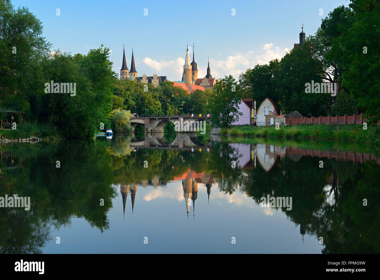 Germany, Saxony-Anhalt, Merseburg, cathedral and castle above the Saale - Stock Image