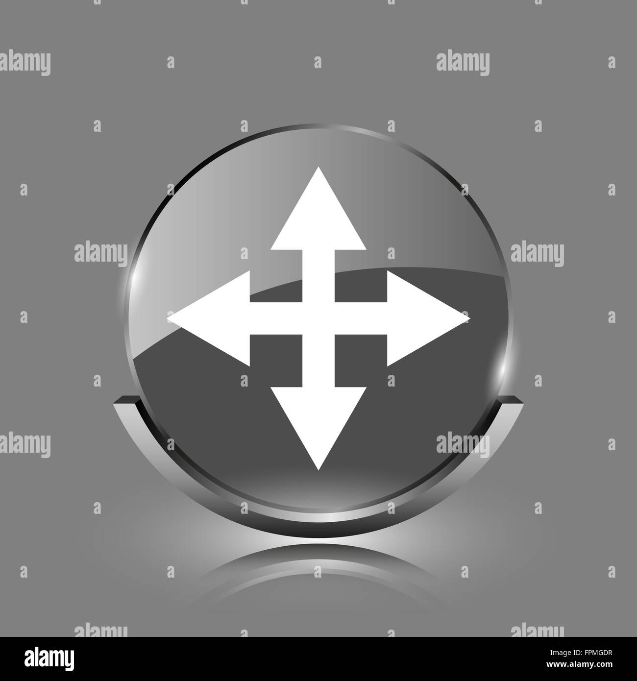 Full screen icon  Shiny glossy internet button on grey
