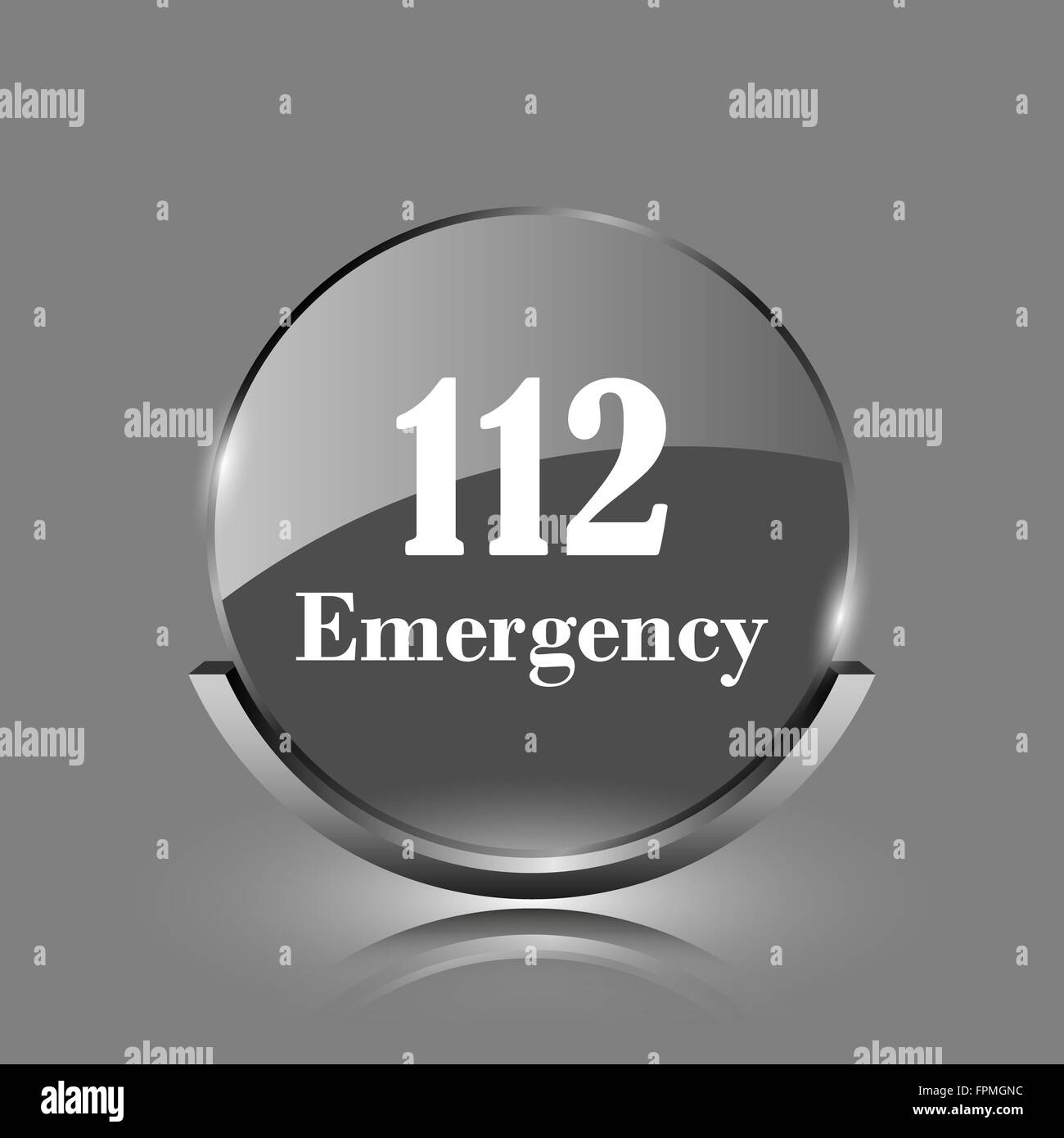 112 Emergency icon. Shiny glossy internet button on grey background. - Stock Image