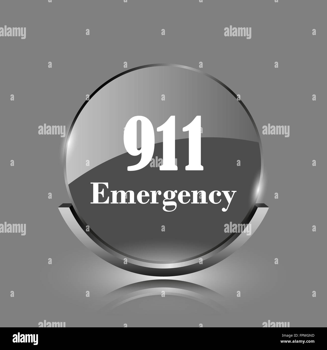 911 Emergency icon. Shiny glossy internet button on grey background. - Stock Image