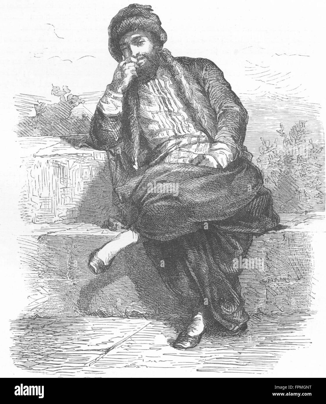 GREECE: Jew of Thessaloniki, antique print 1880 - Stock Image