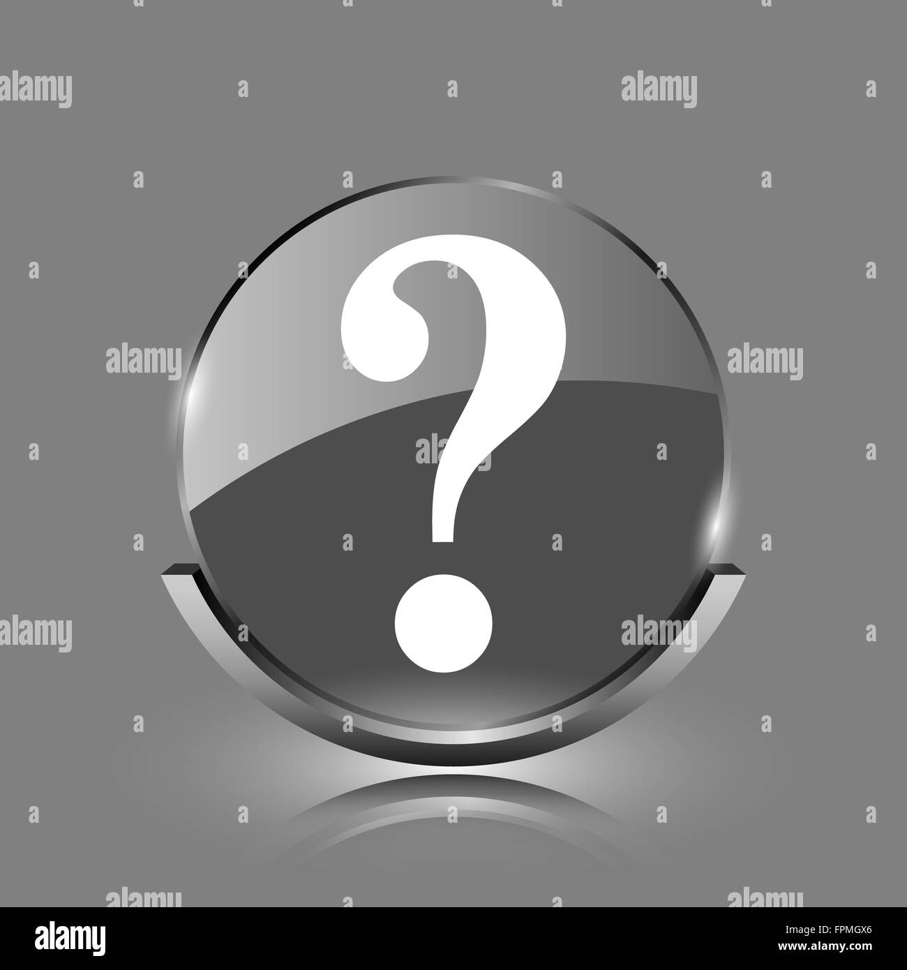 Question mark icon  Shiny glossy internet button on grey